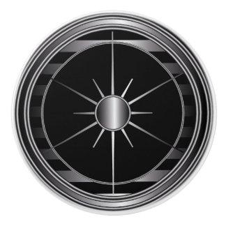 Negro y ajuste de la estrella de la plata pomo de cerámica