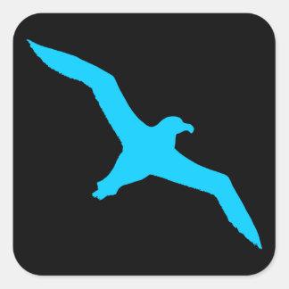 Negro y albatros de la aguamarina pegatina cuadrada