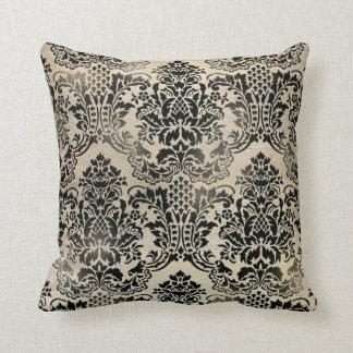 Negro y almohada texturizada moreno del damasco