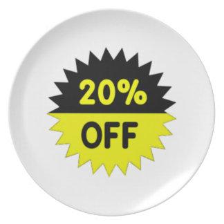 Negro y amarillee el 20 por ciento apagado plato de cena