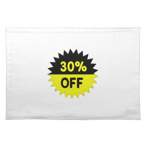 Negro y amarillee el 30 por ciento apagado manteles individuales
