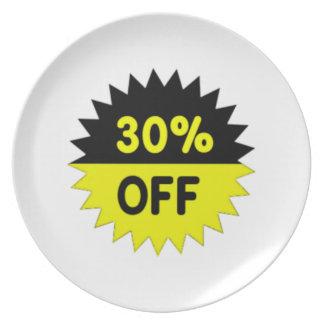 Negro y amarillee el 30 por ciento apagado platos de comidas