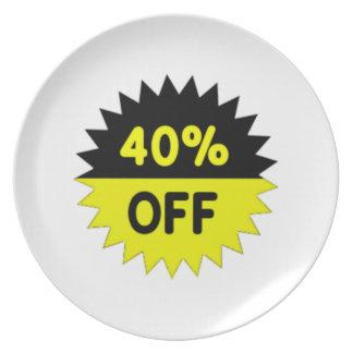 Negro y amarillee el 40 por ciento apagado plato de cena