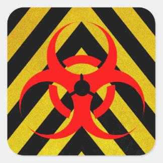 Negro y amarillo del Biohazard Pegatina Cuadrada