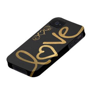 Negro y amor del oro Case-Mate iPhone 4 fundas