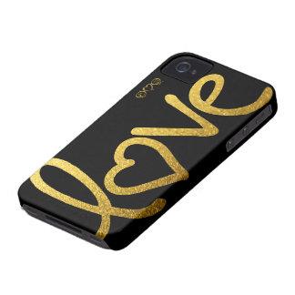 Negro y amor del oro iPhone 4 carcasas