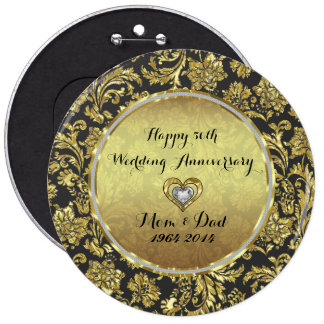 Negro y aniversario de boda de los damascos 50.os pin redondo 15 cm