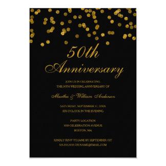 """Negro y aniversario de boda del confeti 50.o del invitación 5"""" x 7"""""""