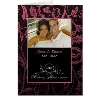 Negro y aniversario de boda del damasco de la tarjeta de felicitación