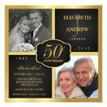 Negro y aniversario de boda del oro 50.o invitaciones personales
