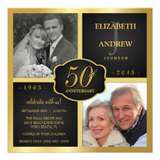 Negro y aniversario de boda del oro 50 o invitaciones personales