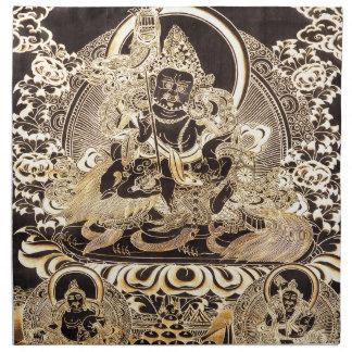 Negro y arte budista tibetano del oro servilleta imprimida