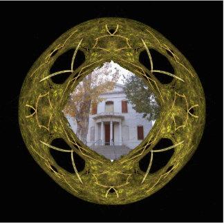 Negro y arte redondo del fractal del oro esculturas fotográficas