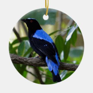 Negro y azul adorno navideño redondo de cerámica
