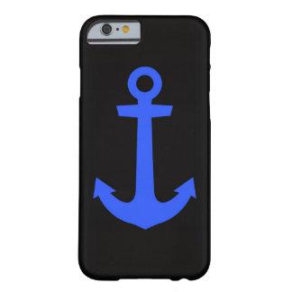 negro y azul del ancla del caso del iPhone 6 Funda Para iPhone 6 Barely There