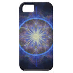 negro y azul del arte del fractal del caso del iPh iPhone 5 Cárcasas