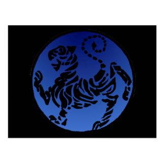 Negro y azul del tigre de Shotokan Postales