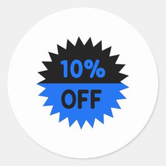 Negro y azul el 10 por ciento apagado pegatina redonda