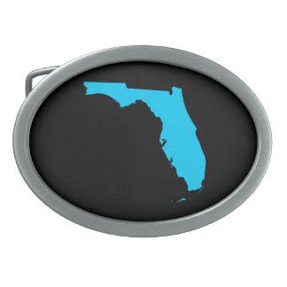 Negro y azul la Florida de la aguamarina Hebilla Cinturon Oval