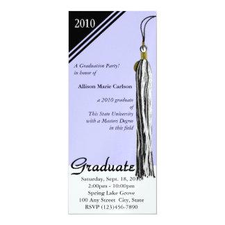 """Negro y bígaro de la borla de la graduación invitación 4"""" x 9.25"""""""