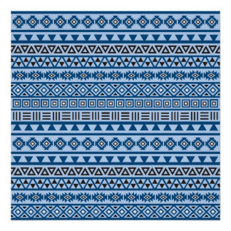 Negro y blanco aztecas de azules del modelo del póster