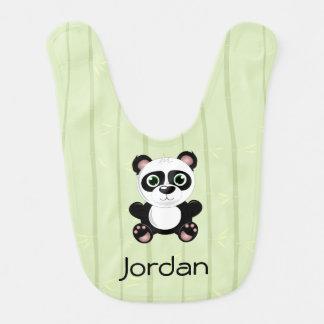Negro y blanco de bambú del fondo del oso de panda baberos para bebé
