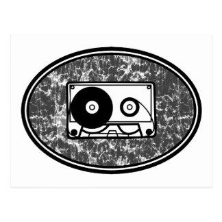 Negro y blanco de la cinta de casete tarjeta postal