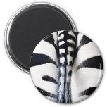 Negro y blanco de la cola de la cebra imanes de nevera