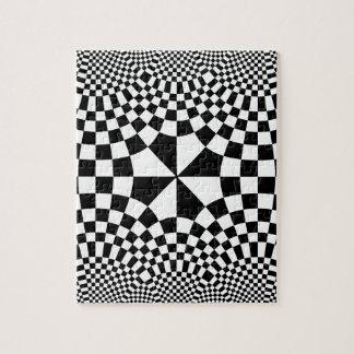 Negro y blanco de la ilusión óptica de los inspect puzzles