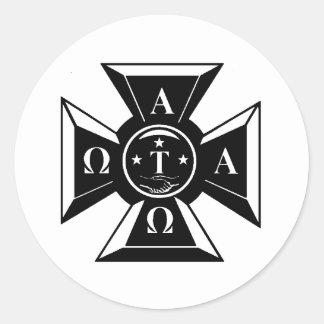 Negro y blanco de la insignia del Tau Omega de la Pegatinas