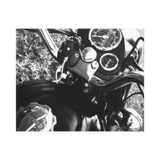 Negro y blanco de la motocicleta del vintage lona estirada galerías