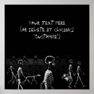 Negro y blanco de medianoche del paseo de los esqu posters