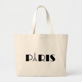 Negro y blanco de París de la torre Eiffel Bolsa Tela Grande