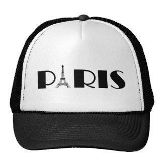 Negro y blanco de París de la torre Eiffel Gorro De Camionero