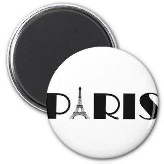 Negro y blanco de París de la torre Eiffel Imán Redondo 5 Cm