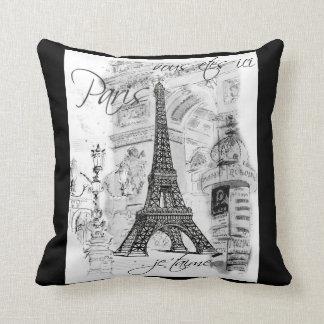 Negro y blanco del collage de la torre Eiffel de P Almohadas
