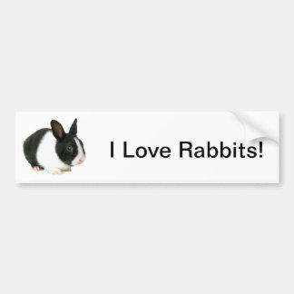 Negro y blanco del conejo de conejito etiqueta de parachoque
