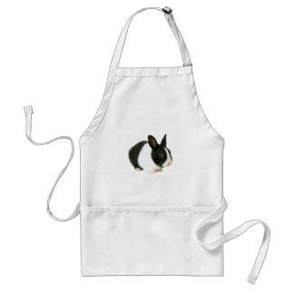 Negro y blanco del conejo de conejito delantal