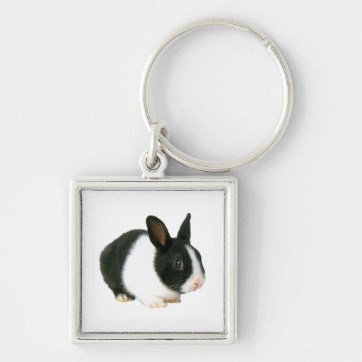 Negro y blanco del conejo de conejito llavero cuadrado plateado