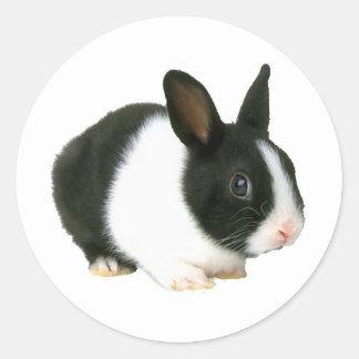 Negro y blanco del conejo de conejito pegatina redonda
