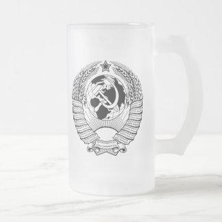 Negro y blanco del escudo de armas de Unión Soviét Tazas De Café