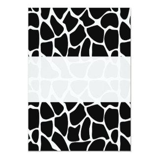 """Negro y blanco del modelo de la jirafa invitación 5"""" x 7"""""""