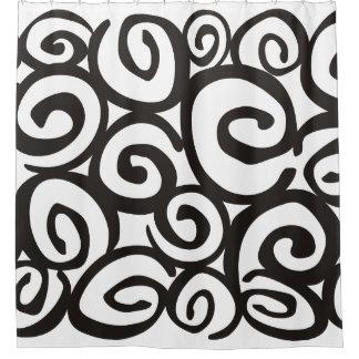 Negro y blanco del modelo de los espirales + sus cortina de baño