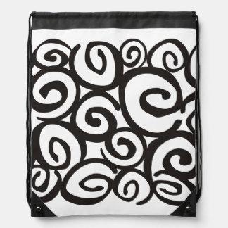 Negro y blanco del modelo de los espirales + sus mochila