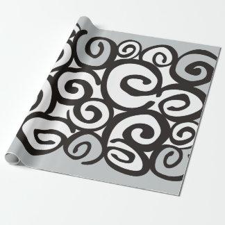 Negro y blanco del modelo de los espirales + sus papel de regalo