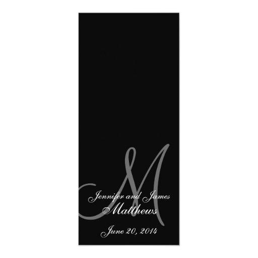 """Negro y blanco del monograma del programa de la invitación 4"""" x 9.25"""""""