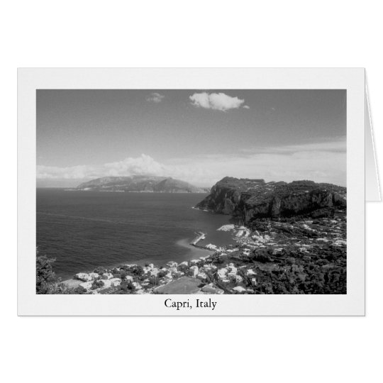 Negro y blanco del puerto deportivo de Capri Tarjeta De Felicitación