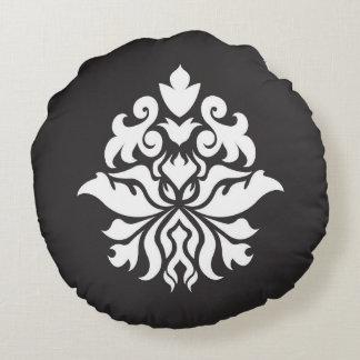Negro y blanco grandes del diseño del damasco cojín redondo