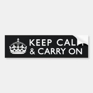 Negro y blanco guarde la calma y continúe etiqueta de parachoque