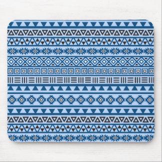 Negro y blanco horizontales de azules del modelo tapete de ratones